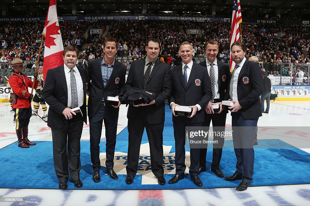 Hockey Hall of fame inductees Bill McCreary Mike Modano Jason Burns Dominik Hasek Rob Blake and Peter Forsberg are introduced prior to the Hockey...