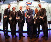 Hockey Hall of Fame inductees Mike Modano Bill McCreary Dominik Hasek Peter Forsberg Line Gignac Burns and Rob Blake show off their Hall rings during...