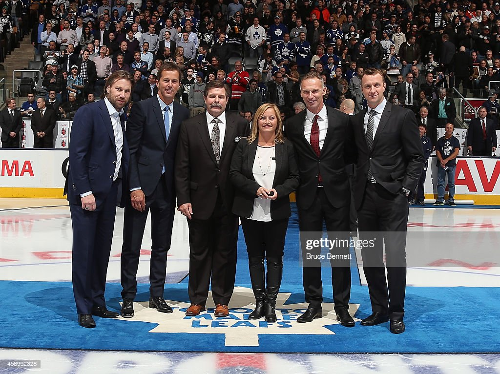 Hockey Hall of Fame Inductees Peter Forsberg Mike Modano Bill McCreary Line Gignac Burns representing her husband Pat Burns Dominik Hasek and Rob...