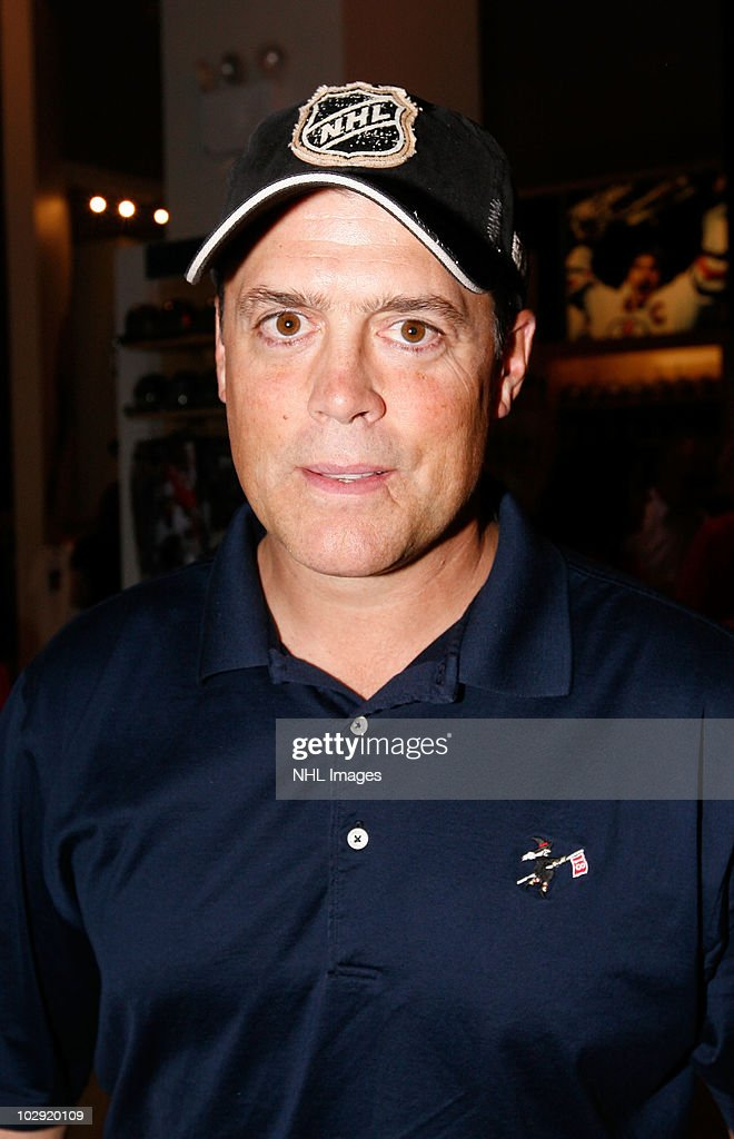 Hockey Hall of Fame NHL player Pat LaFontaine poses during the NHL, UPS & U.S. Army Street Hockey Equipment Donation To Troops In Iraq event at the NHL Powered by Reebok Store on June 7, 2010 in New York.