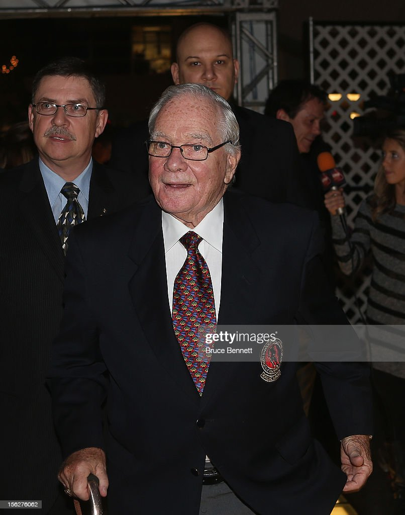 Hockey Hall of Famer Scotty Morrison arrives for the Hockey Hall of Fame induction ceremony at Brookfield Place on November 12, 2012 in Toronto, Canada.
