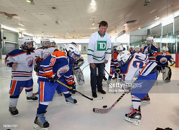 Hockey Hall of Famer Wayne Gretzky makes an appearance at the Abe Stark Arena on February 25 2013 in New York City The event was organized by TD Bank...