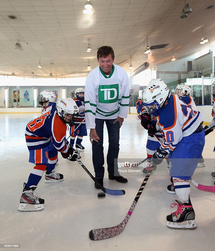 Hockey Hall of Famer Wayne Gretzky makes an appearance at the Abe Stark Arena on February 25, 2013 in New York City. The event was organized by TD Bank who donated funds to the Greater New York City Ice Hockey League to replace equipment that was lost or destroyed during Superstorm Sandy.