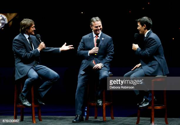 Hockey Hall of Famers and former Anaheim Ducks Teemu Selanne left and Paul Kariya right have a conversation moderated by Ducks Broadcaster Brian...