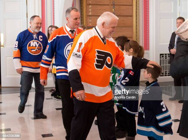 Hockey Hall of Famers Bernie Parent and Paul Coffey are welcomed to Rideau Hall during the Stanley Cup Homecoming as part of the Stanley Cups 125th...