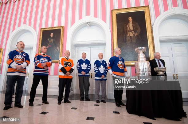 Hockey Hall of Famers Bryan Trottier Paul Coffey Bernie Parent Frank Mahovlich Dave Keon and Mike Bossy during the Stanley Cup Homecoming as part of...