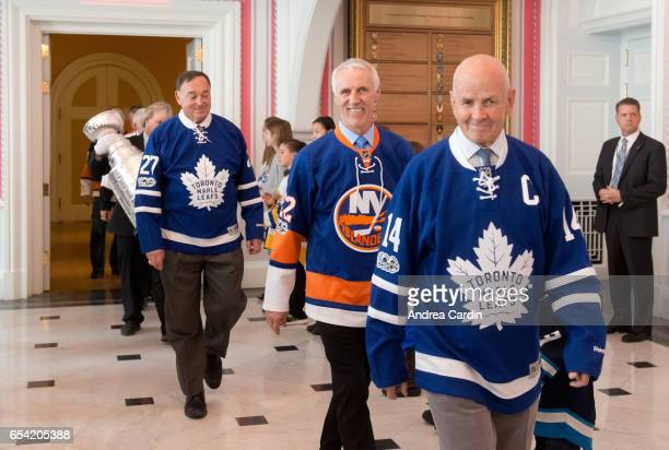 Hockey Hall of Famers Frank Mahovlich Mike Bossy and Dave Keon are welcomed to Rideau Hall during the Stanley Cup Homecoming as part of the Stanley...