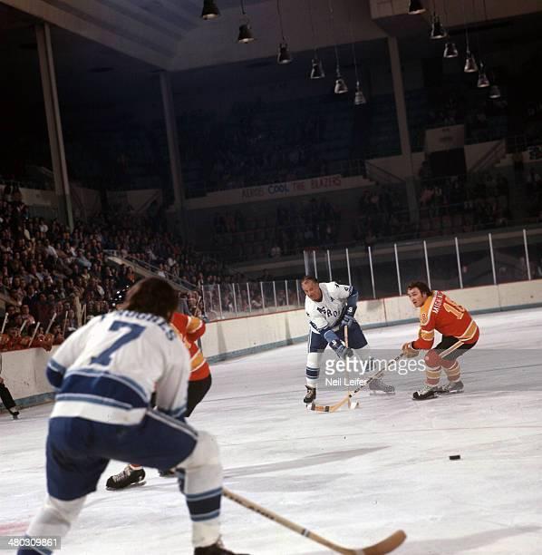 Houston Aeros Gordie Howe in action shot vs Vancouver Blazers John Migneault at Sam Houston Coliseum Houston TX CREDIT Neil Leifer