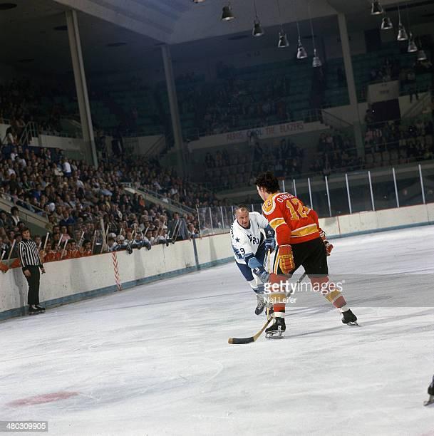 Houston Aeros Gordie Howe in action shot vs Vancouver Blazers Don O'Donoghue at Sam Houston Coliseum Houston TX CREDIT Neil Leifer