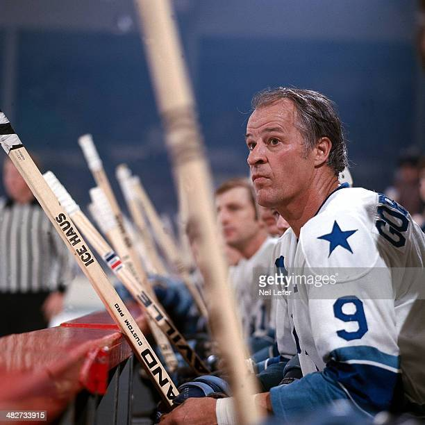 Houston Aeros Gordie Howe on bench during game vs Edmonton Oilers at Sam Houston Coliseum Houston TX CREDIT Neil Leifer