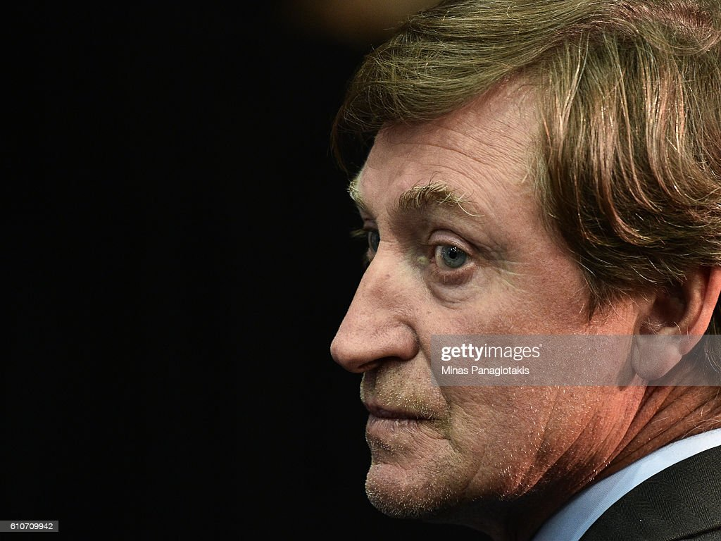 Hockey icon Wayne Gretzky looks prior to the League's Centennial celebration plans for 2017 during a press conference at the World Cup of Hockey 2016 at Air Canada Centre on September 27, 2016 in Toronto, Ontario, Canada.