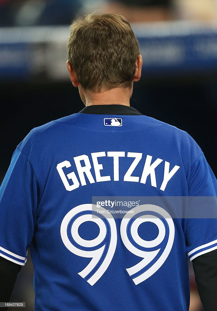 Hockey legend Wayne Gretzky after throwing out the first pitch before the Minnesota Twins MLB game against the Toronto Blue Jays on October 1, 2012 at Rogers Centre in Toronto, Ontario, Canada.