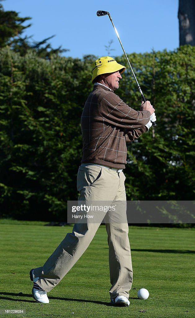 Hockey legend Wayne Gretzky hits a shot during the third round of the AT&T Pebble Beach National Pro-Am at Pebble Beach Golf Links on February 9, 2013 in Pebble Beach, California.
