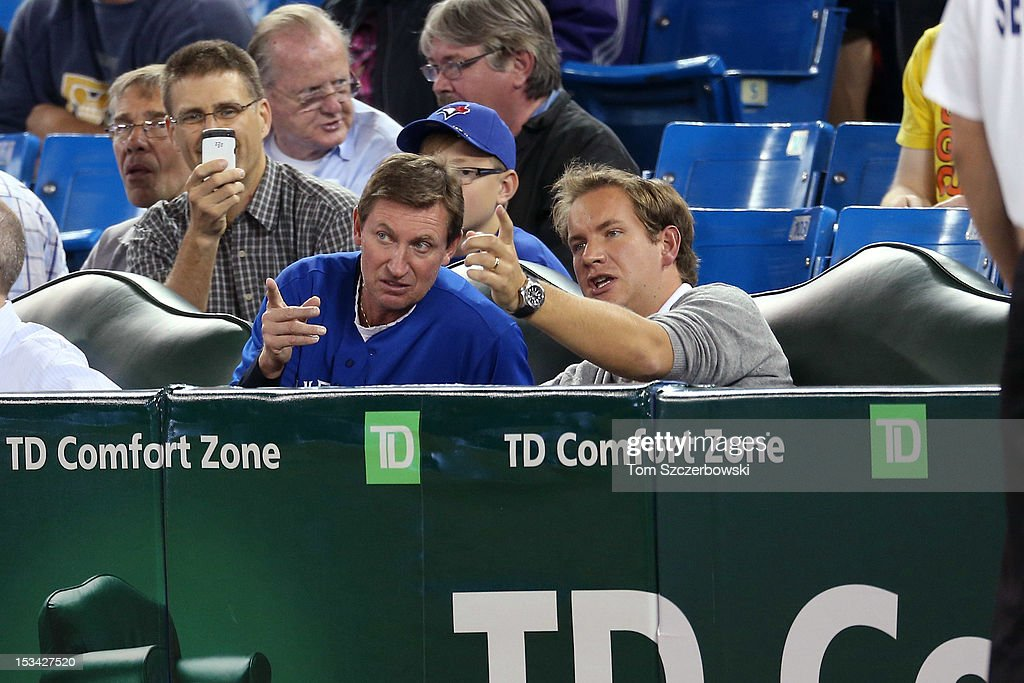 Hockey legend Wayne Gretzky watches the Minnesota Twins MLB game against the Toronto Blue Jays on October 1, 2012 at Rogers Centre in Toronto, Ontario, Canada.