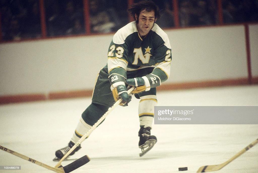 Minnesota North Stars Lou Nanne (23) in action vs St. Louis Blues. St. Louis, MO 3/28/1973