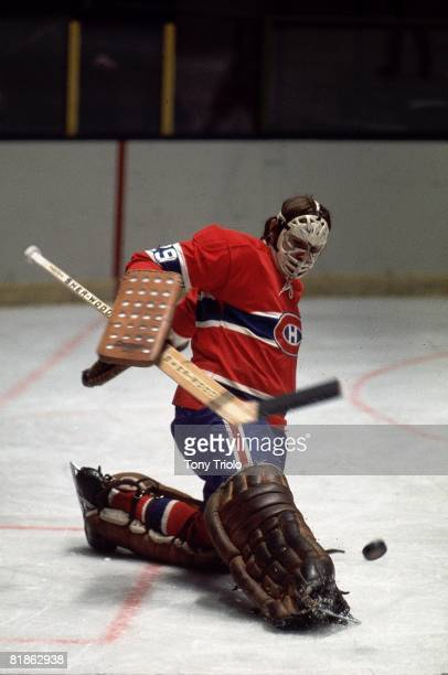 Hockey Montreal Canadiens goalie Ken Dryden in action making save vs New York Rangers New York NY