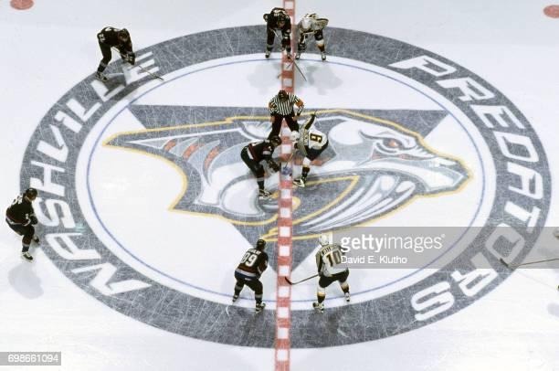 Nashville Predators Darren Turcotte takes faceoff vs Vancouver Canuks at Nashville Arena Nashville TN CREDIT David E Klutho