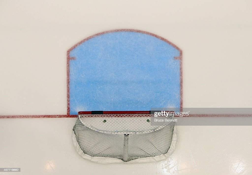 A hockey net sits unoccupied during the game between the New York Islanders and the Toronto Maple Leafs at the Nassau Veterans Memorial Coliseum on...