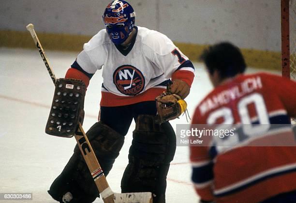 New York Islanders goalie Glenn Resch in action vs Montreal Canadiens at Nassau Coliseum Uniondale NY CREDIT Neil Leifer