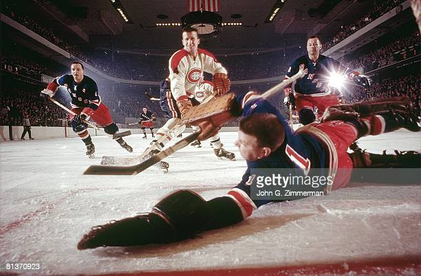 Hockey New York Rangers goalie Gump Worsley in action vs Montreal Canadiens Claude Provost New York NY