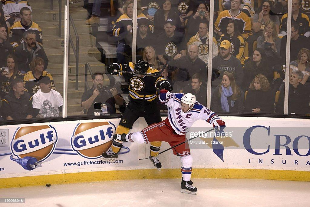 New York Rangers Ryan Callahan (24) in action vs Boston Bruins Dennis Seidenberg (44) at TD Garden. Michael J. Clarke F199 )