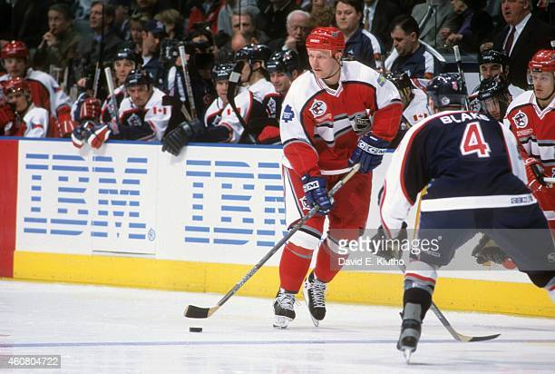 NHL All Star Game World Team Mats Sundin in action vs North America during game at Air Canada Centre Toronto Canada 2/6/2000CREDIT David E Klutho