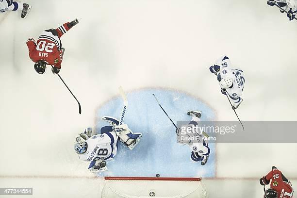 NHL Finals Aerial view of Chicago Blackhawks Brandon Saad in action scoring goal vs Tampa Bay Lightning goalie Andrei Vasilevskiy at United Center...