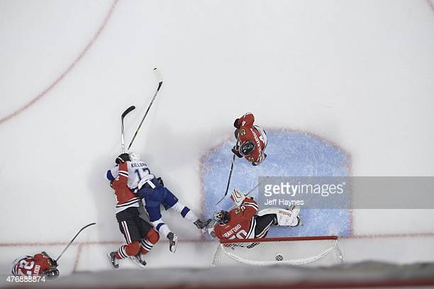 NHL Finals Aerial view of Chicago Blackhawks goalie Corey Crawford in action vs Tampa Bay Lightning at United Center Game 4 Chicago IL 6/10/2015...