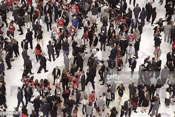 NHL Finals Aerial view of Chicago Blackhawks players fans and media members on ice after winning series vs Tampa Bay Lightning at United Center Game...