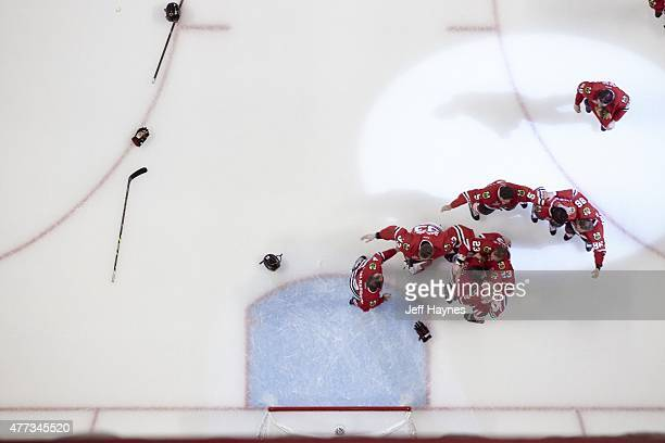 NHL Finals Aerial view of Chicago Blackhawks players victorious on ice after winning series vs Tampa Bay Lightning at United Center Game 6 Chicago IL...