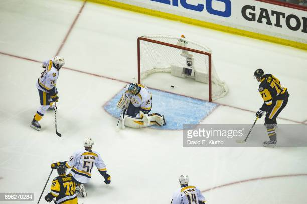 NHL Finals Aerial view of Nashville Predators goalie Pekka Rinne in action vs Pittsburgh Penguins at PPG Paints Arena Game 5 Pittsburgh PA CREDIT...