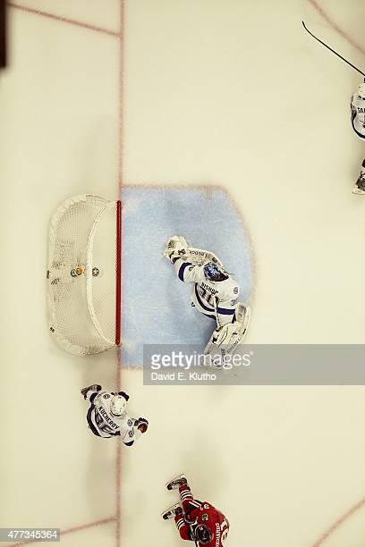 NHL Finals Aerial view of Tampa Bay Lightning goalie Ben Bishop in action yielding goal vs Chicago Blackhawks Patrick Kane at United Center Game 6...