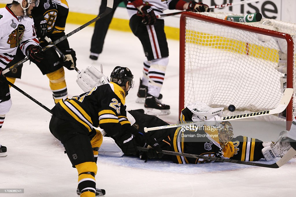 Boston Bruins goalie Tuukka Rask (40) in action, yielding goal vs Chicago Blackhawks at TD Garden. Game 4. Damian Strohmeyer F71 )