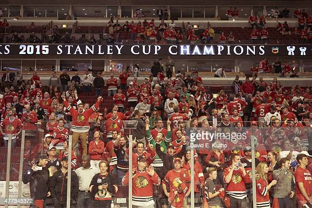 NHL Finals Chicago Blackhawks fans in stands after winning series vs Tampa Bay Lightning at United Center Game 6 Chicago IL 6/15/2015 CREDIT David E...