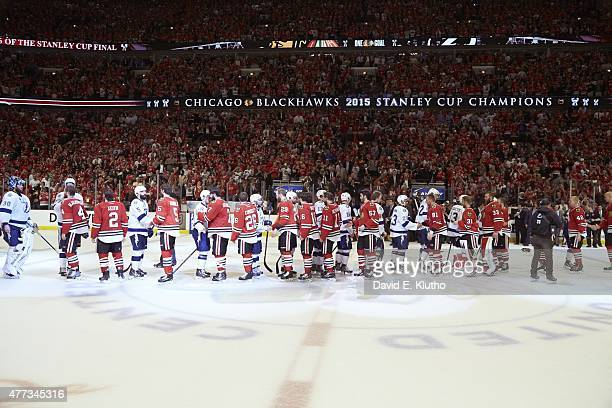 NHL Finals Chicago Blackhawks players shaking hands with Tampa Bay Lightning players after game at United Center Game 6 Chicago IL 6/15/2015 CREDIT...