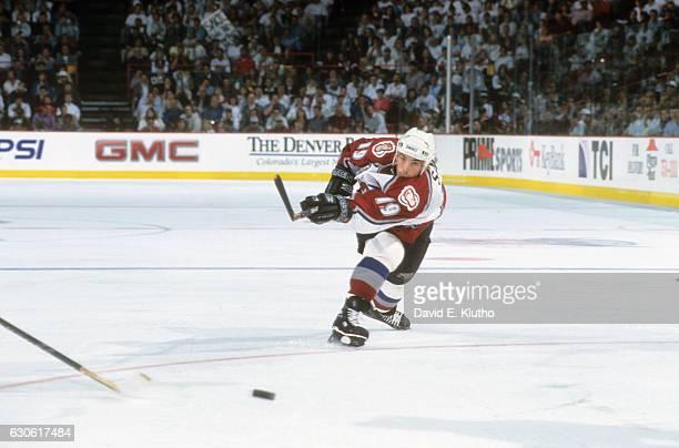 NHL Finals Colorado Avalanche Joe Sakic in action shooting vs Florida Panthers at McNichols Sports Arena Game 1 Denver CO CREDIT David E Klutho