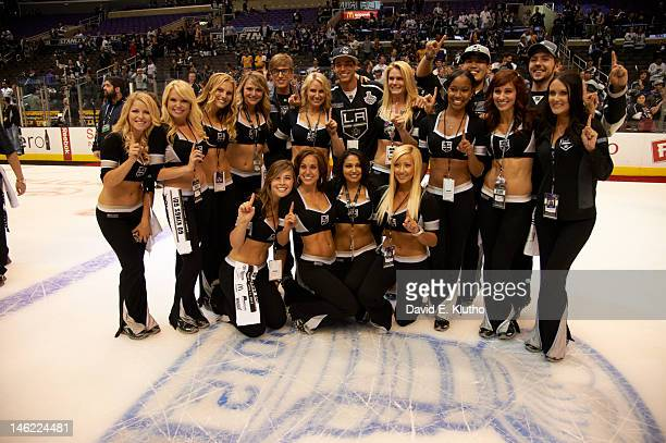 NHL Finals Los Angeles Kings ice girl cheerleaders on ice during game vs New Jersey Devils at Staples Center Game 6 Los Angeles CA CREDIT David E...