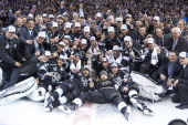 NHL Finals Los Angeles Kings team victorious on ice with Stanley Cup after winning game and series vs New York Rangers at Staples Center Game 5 Los...