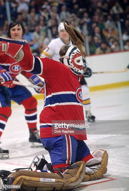 NHL Finals Montreal Canadiens goalie in action vs Boston Bruins at Boston Garden Game 4 Boston MA CREDIT Dick Rapahel