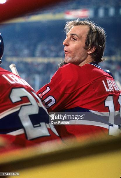 NHL Finals Montreal Canadiens Guy Lafleur on bench during game vs Boston Bruins at Boston Garden Game 3 Boston MA CREDIT Dick Raphael