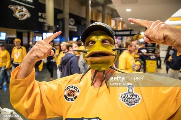 NHL Finals Nashville Predators fan in catfish mask before game vs Pittsburgh Penguins at Bridgestone Arena Game 4 Nashville TN CREDIT David E Klutho