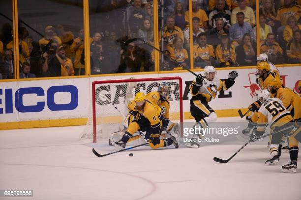 NHL Finals Nashville Predators goalie Pekka Rinne and Ryan Ellis in action vs Pittsburgh Penguins at Bridgestone Arena Game 6 Nashville TN CREDIT...