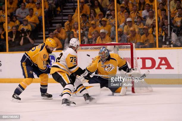 NHL Finals Nashville Predators goalie Pekka Rinne in action vs Pittsburgh Penguins at Bridgestone Arena Game 6 Nashville TN CREDIT David E Klutho