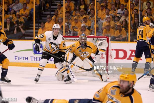 NHL Finals Nashville Predators goalie Pekka Rinne in action vs Pittsburgh Penguins Jake Guentzel at Bridgestone Arena Game 6 Nashville TN CREDIT...
