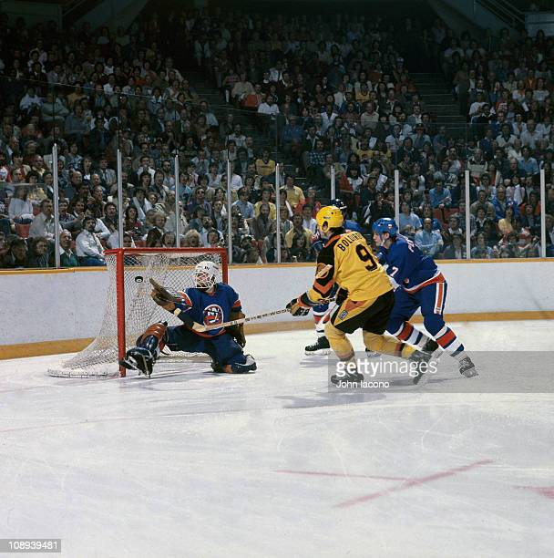 NHL Finals New York Islanders goalie Billy Smith in action vs Vancouver Canucks at Nassau Coliseum Game 2Uniondale NY 5/11/1982CREDIT John Iacono