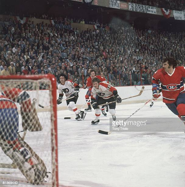 Hockey NHL Finals Philadelphia Flyers Bobby Clarke in action vs Montreal Canadiens Game 3 Philadelphia PA 5/13/1976