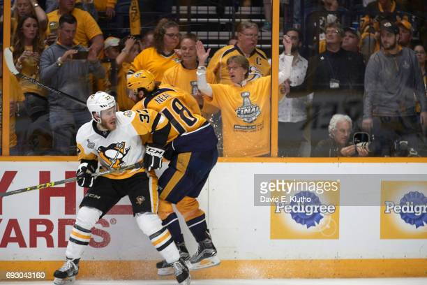 NHL Finals Pittsburgh Penguins Carter Rowney in action vs Nashville Predators James Neal at Bridgestone Arena Nashville TN CREDIT David E Klutho