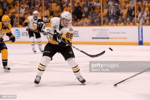 NHL Finals Pittsburgh Penguins Jake Guentzel in action vs Nashville Predators at Bridgestone Arena Game 6 Nashville TN CREDIT David E Klutho