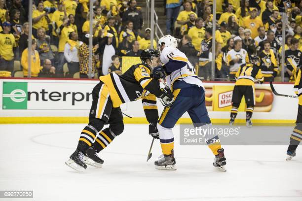 NHL Finals Pittsburgh Penguins Olli Maatta in action vs Nashville Predators Colton Sissons at PPG Paints Arena Game 5 Pittsburgh PA CREDIT David E...