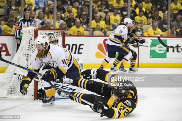NHL Finals Pittsburgh Penguins Patric Hornqvist in action vs Nashville Predators Ryan Ellis at PPG Paints Arena Game 5 Pittsburgh PA CREDIT David E...
